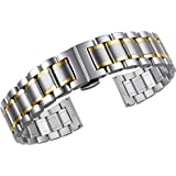 19mm Luxury Stainless Steel Watch Bands Two Tone Silver and Gold Solid Metal Heavy Type Curved Ends Straight Ends