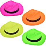 Fun Hats Neon Plastic Gangster Party Hats, Glow Party Supplies 24 PCs for Birthday, Party Favors