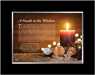 product image for Candle in The Window Framed Irish Coin Collection | Irish Christmas Legend Tabletop Black Wood Frame with Easel |Irish Large Cent, Penny and Three Pence | Certificate of Authenticity – American Coin