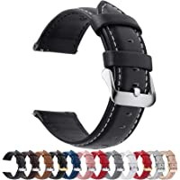 Fullmosa Watch Strap 14mm,Axus Genuine Leather Watch Band with Quick Release for Men Women, Black