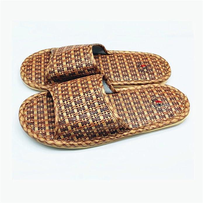 Amazon.com | Adam Woolf Summer Men Slippers Rattan Weaving Home Slippers Unisex Indoor Men Shoes Size 36-44 Zapatillas Hombre Flip Flop | Slippers