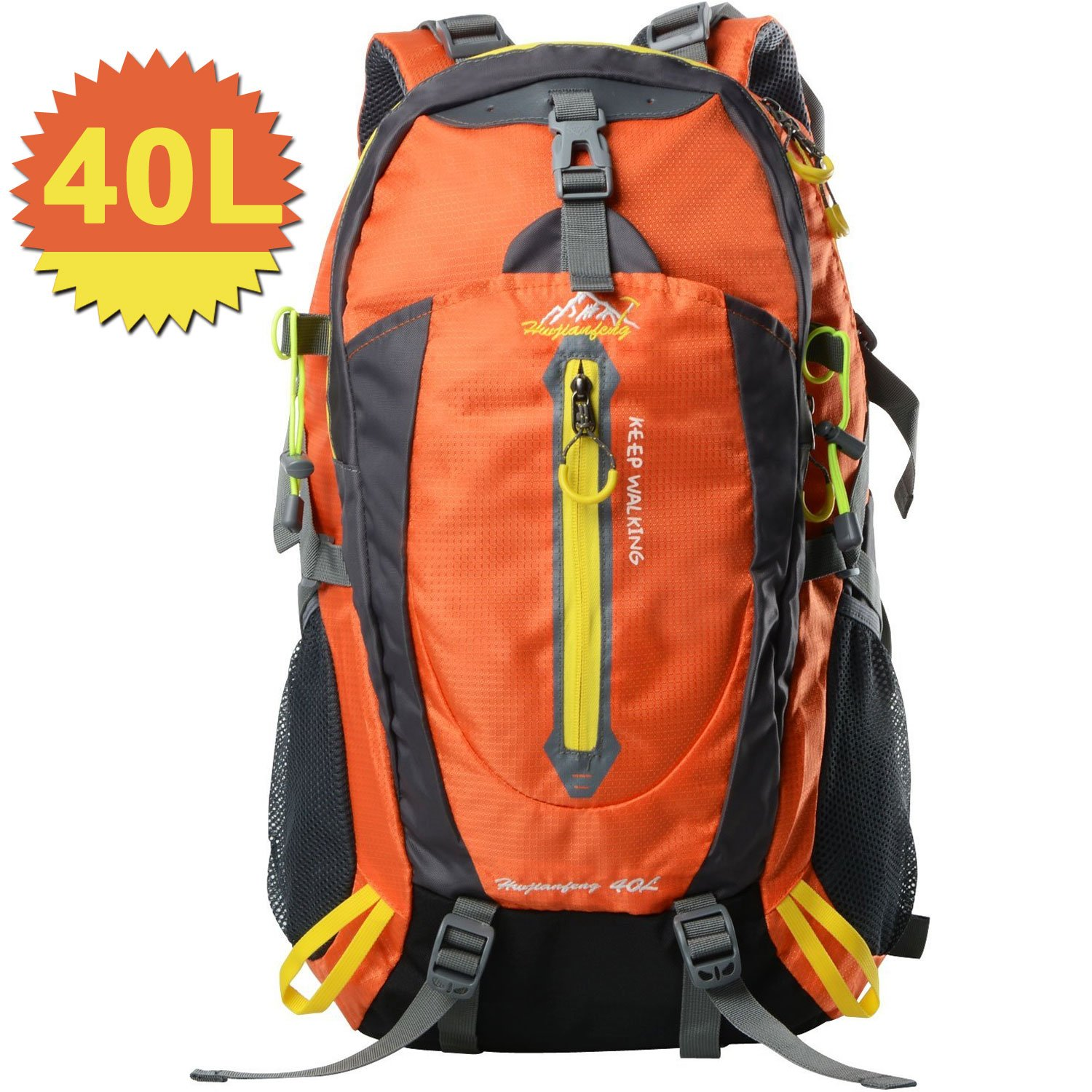 40L Hiking Backpack Waterproof Daypack Bags For Climbing, Camping, Hiking, Travel,Cycling,Skiing (orange)
