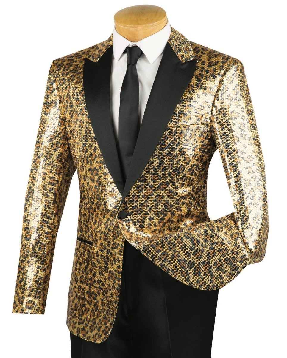 Vinci Men's Gold Cheetah Print Sequins 1 Button Classic-Fit Tuxedo Jacket w/Black Shawl Lapel New [Size:Size: XL]
