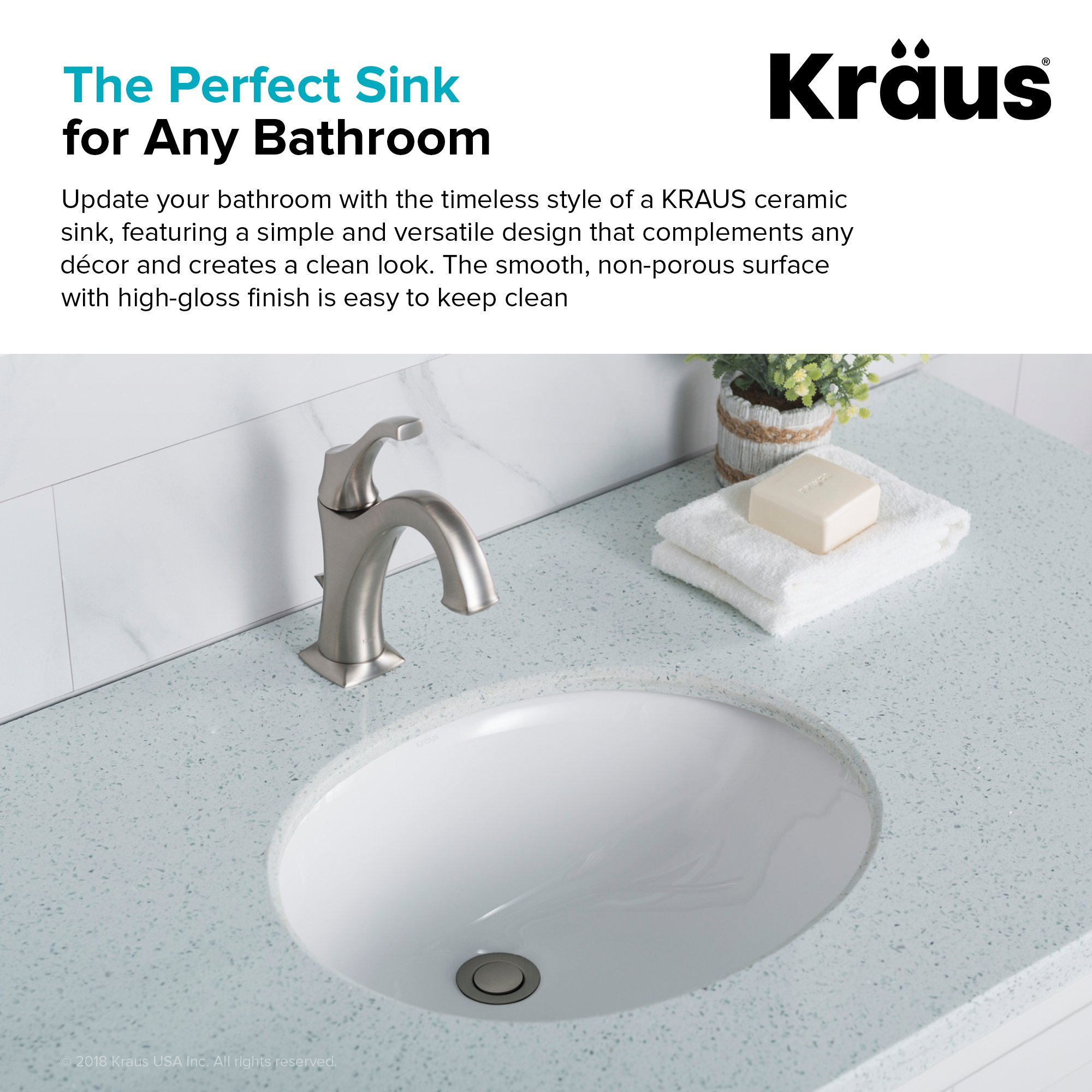 KRAUS Elavo 17 Inch Oval Undermount Porcelain Ceramic Bathroom Sink in White with Overflow, KCU-211 by Kraus (Image #6)