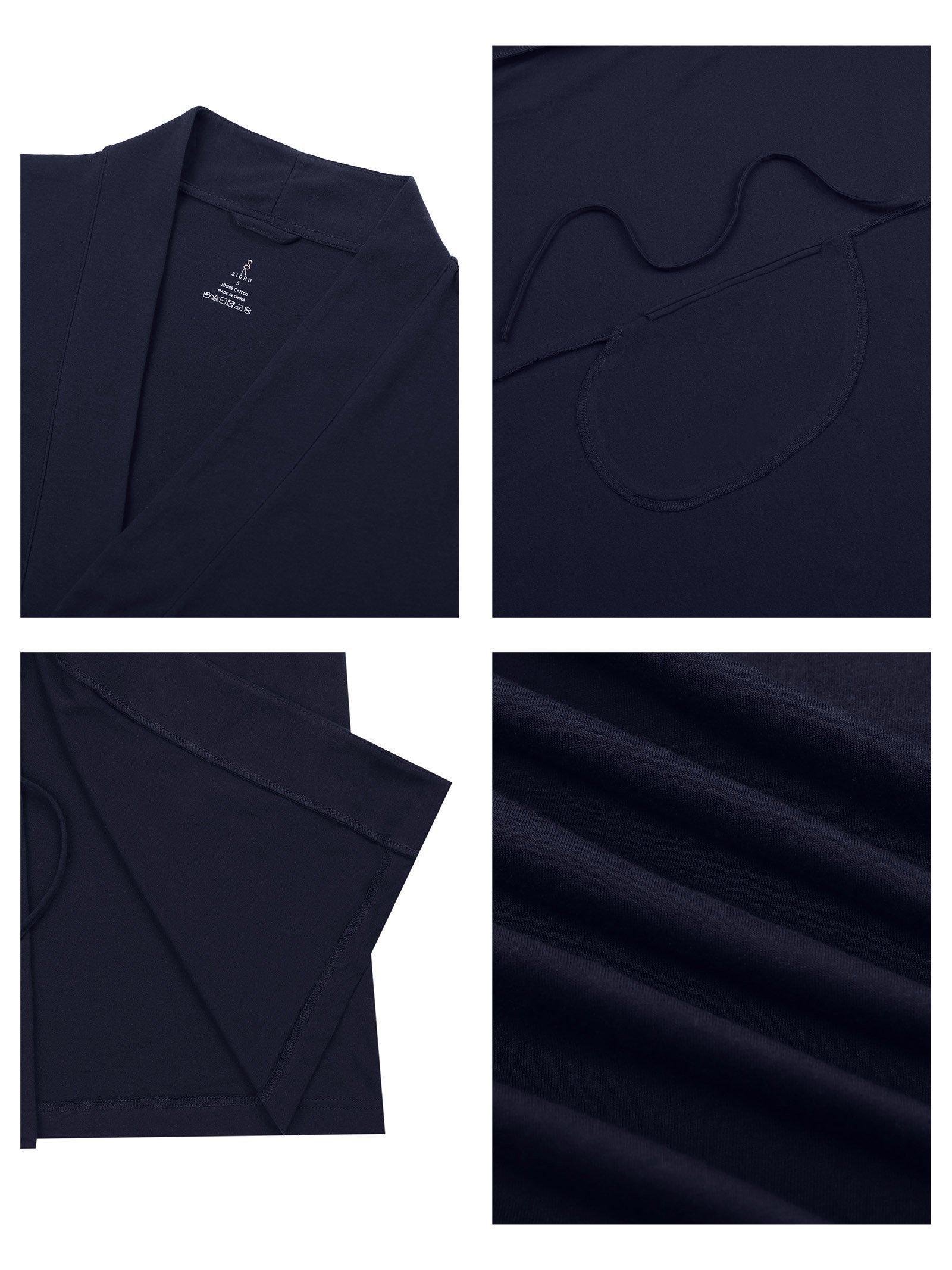 SIORO Cotton Robes Lightweight Kimono Robe Gowns Soft Knit Bathrobe Nightwear V-Neck Loungewear Sexy Sleepwear Short for Women, Black, S by SIORO (Image #5)