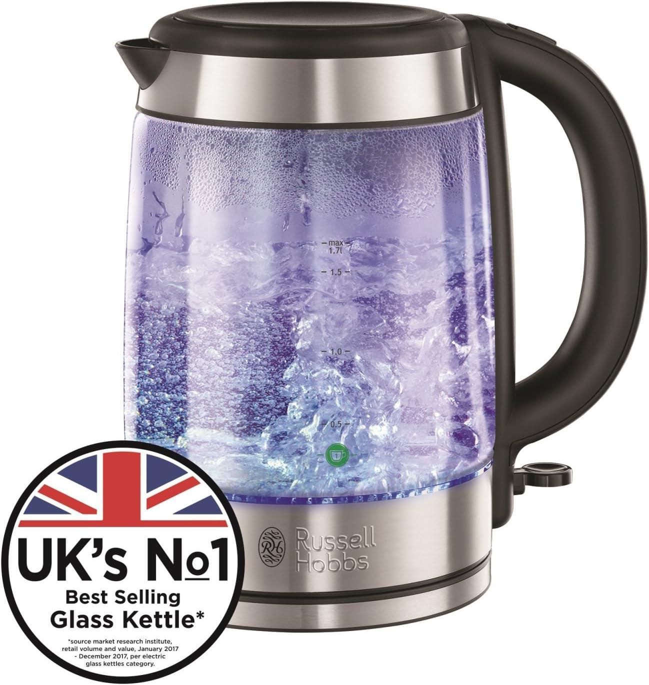 Blau Kabellos LED Beleuchtet Illuminating Glas Wasserkocher 1.7L
