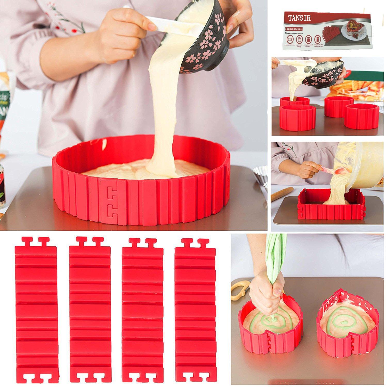 TANSIR Bake Snake, stampi per torte, anello regolabile in silicone, stampo per dolci, accessori per fondente, cake mould, fai da te una varietà di forme (rosso), 4 pezzi FU ZHOU HONG YUN dfdgf-005