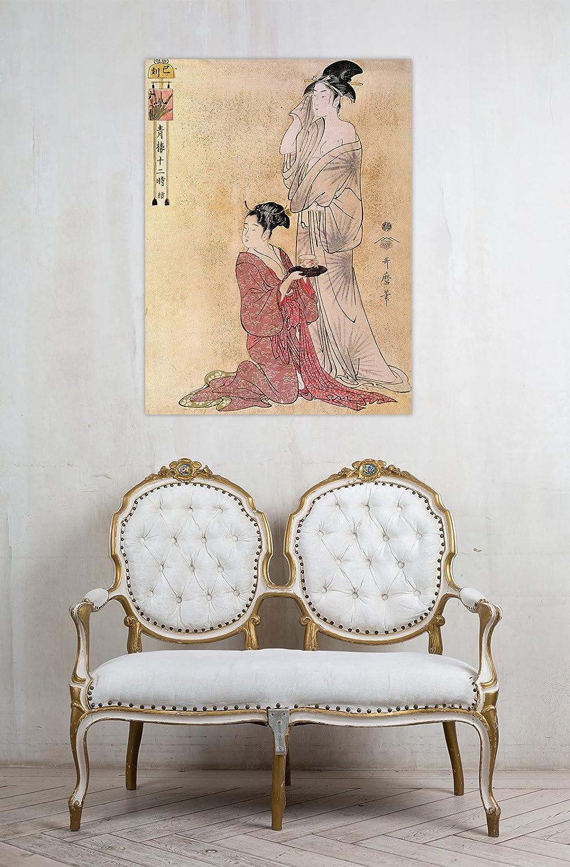 Rahmen Druck auf Leinwand mit Rahmen Rahmen Rahmen in Holz Utamaro Kitagawa Femme a sa Toilette Aidee de Sa servante 135x100 CM B07CJQD89W | Sale Online Shop  def51c