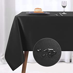 NLMUVW Rectangle Table Cloth, Waterproof Oblong Tablecloth, Microfiber Fabric 210 GSM Table Cover for Party Picnic Outdoor and Indoor Use (60 x 84 Inch, Black)