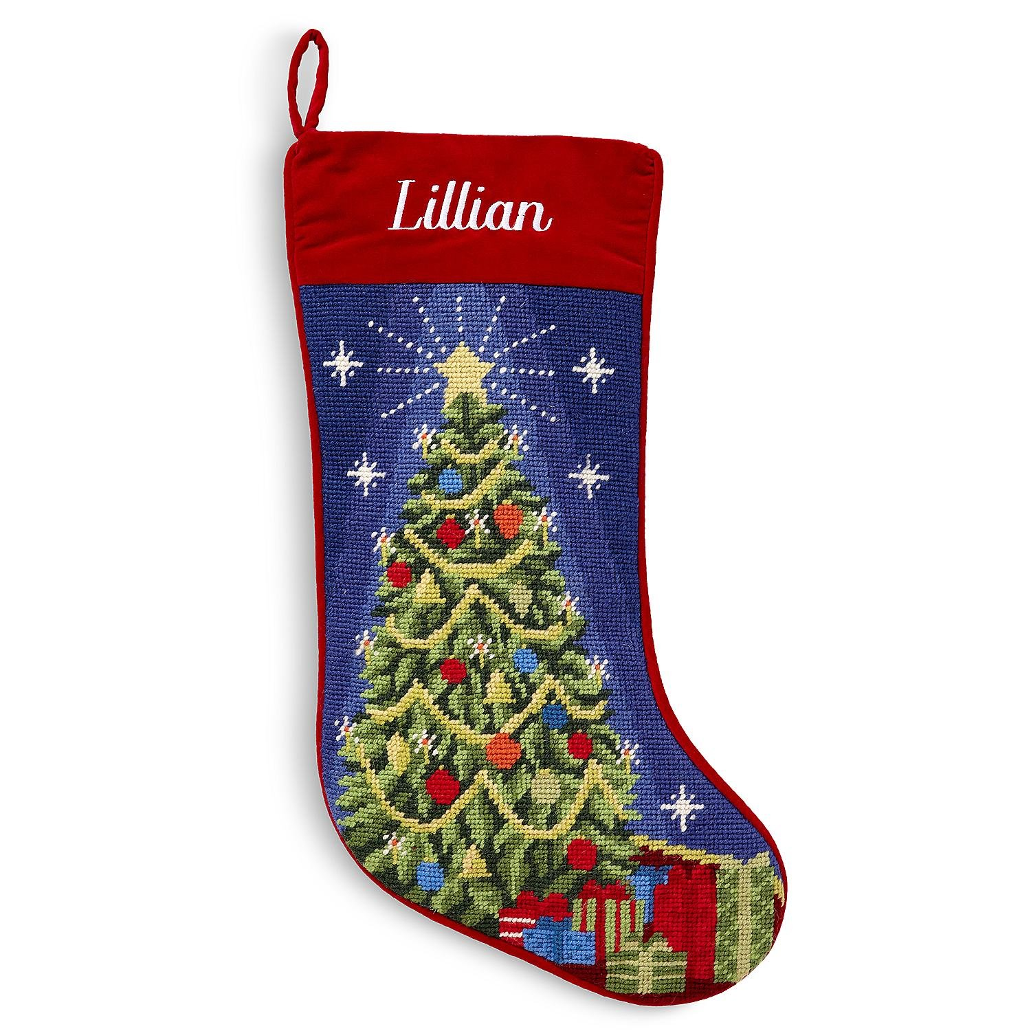 Personalized Needlepoint Christmas Stocking - 8 Designs - Custom Gifts - 17'' (Christmas Tree)