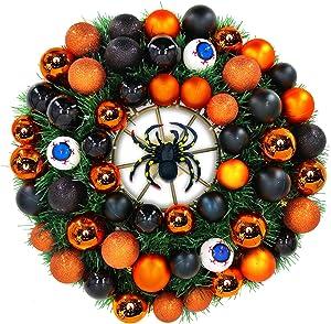 """TURNMEON 24"""" Halloween Wreath for Front Door with Spider Eyeballs Ornaments Halloween Decoration Indoor Outdoor Home Party Decor"""
