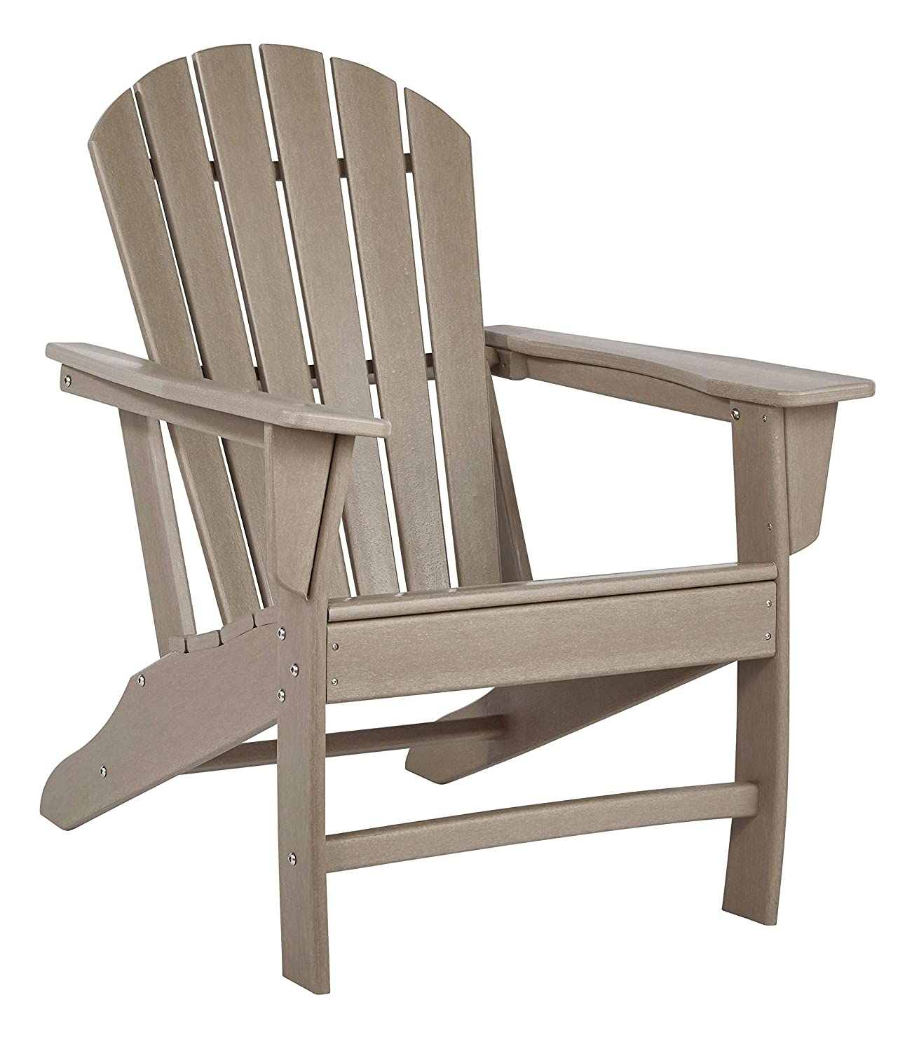 Ashley Furniture Signature Design - Sundown Treasure Outdoor Adirondack Chair - Hard Plastic - Grayish Brown