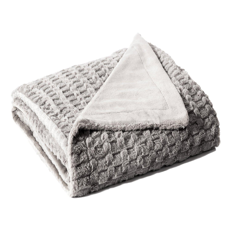 Bedsure Faux Fur Fleece Throw Blanket 60x80 Grey Rustic Home Decor Bedding Blanket