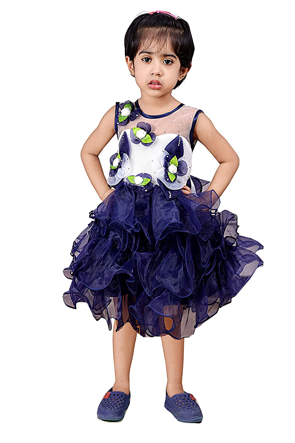 Safina Collection Designer Net Layered Dress For Kids Navy Blue Amazon In Clothing Accessories