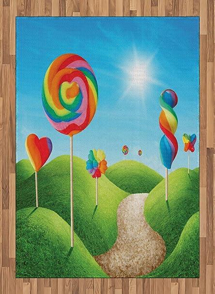 ABAKUHAUS Fantasía Alfombra de Área, Candy Land Lollipops ...