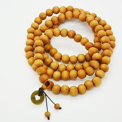 Amazon.com: 108 Beads Wooden Yoga Mala Necklace Tibet ...