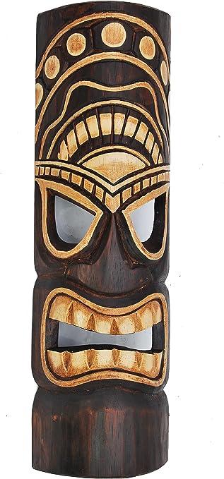 Schöne 50 cm Tiki Holz Maske Neuseeland Maori Wandmaske Handarbeit Bali Maske68