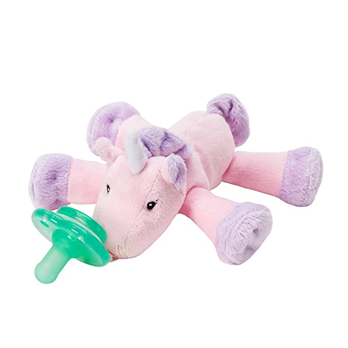 Nookums Paci-Plushies Shakies - Unicorn Pacifier Holder and Rattle (2 in 1)- Adapts to Name Brand Pacifiers, Suitable for All Ages, Plush Toy Includes ...