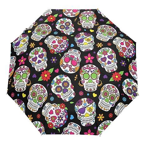 Wamika Day of The Dead Sugar Skull Auto Umbrella Open Close Windproof Travel Flower Umbrella Lightweight