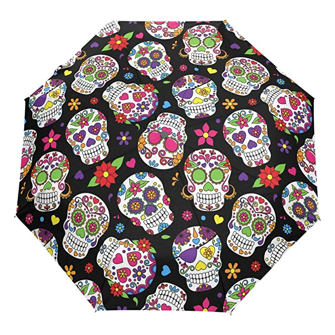 Amazon.com : Wamika Day of The Dead Sugar Skull Auto Umbrella Open Close Windproof Travel Flower Umbrella Lightweight Compact Parasol Umbrellas Sun & Rain ...