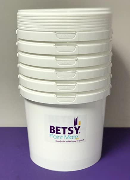 PACK OF 6 5 LITRE POTS Paint Containers with Lids Plastic Paint