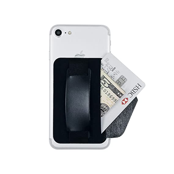 new concept 4f67c 4b686 Wingcases One Black Phone Grip Strap Card Holder with Phone Stand, Stick on  Wallet Functioning as Safety Card Holder for ID/IC Card Useful Leather ...