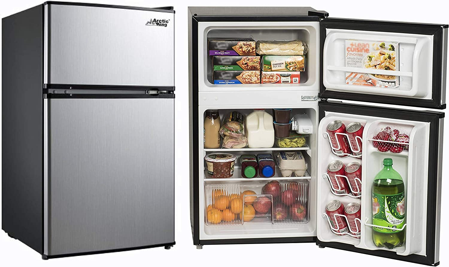 Small Refrigerator with Freezer for Office or Dorm Apartment. Compact  Undercounter Mini Fridge Combo Appliance for Bedroom or Room at Home Double  Door ...