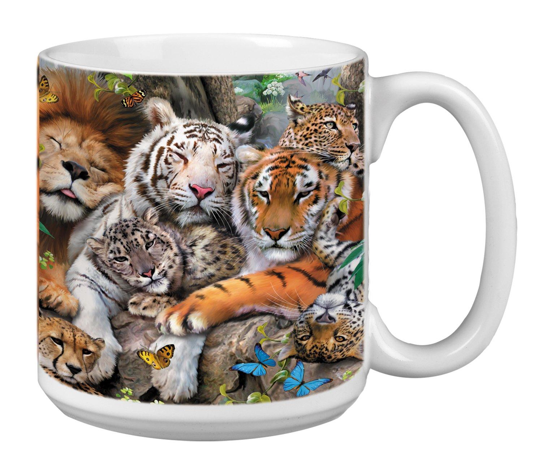 Lion Tiger Big Cat Cuddle Extra Large Mug 20-Ounce Jumbo Ceramic Coffee Mug Cup XM29810 Leopard Art Tree-Free Greetings Gift for Animal Lovers