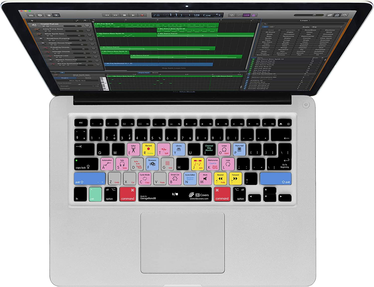 Edit Faster with All The Shortcuts Apple Garageband Keyboard Cover for MacBook Pro with Touchbar 13 /& 15