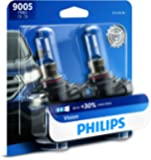 Philips 9005 Vision Upgrade Headlight Bulb with up to 30% More Vision, 2 Pack