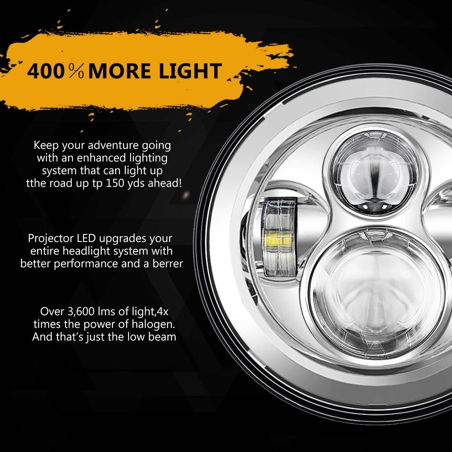 QXXZ 7 Inch Chrome Harley Daymaker LED Headlight 2X 4-1//2 Fog Light Passing Lamps For Harley Davidson Motorcycle