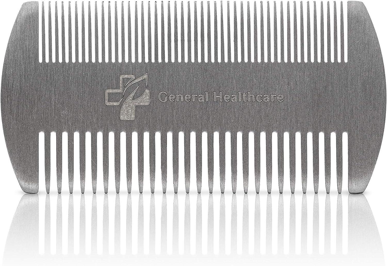 General Healthcare Peine de acero inoxidable para el cabello, piojos, pelo y barba de doble acción: Amazon.es: Salud y cuidado personal