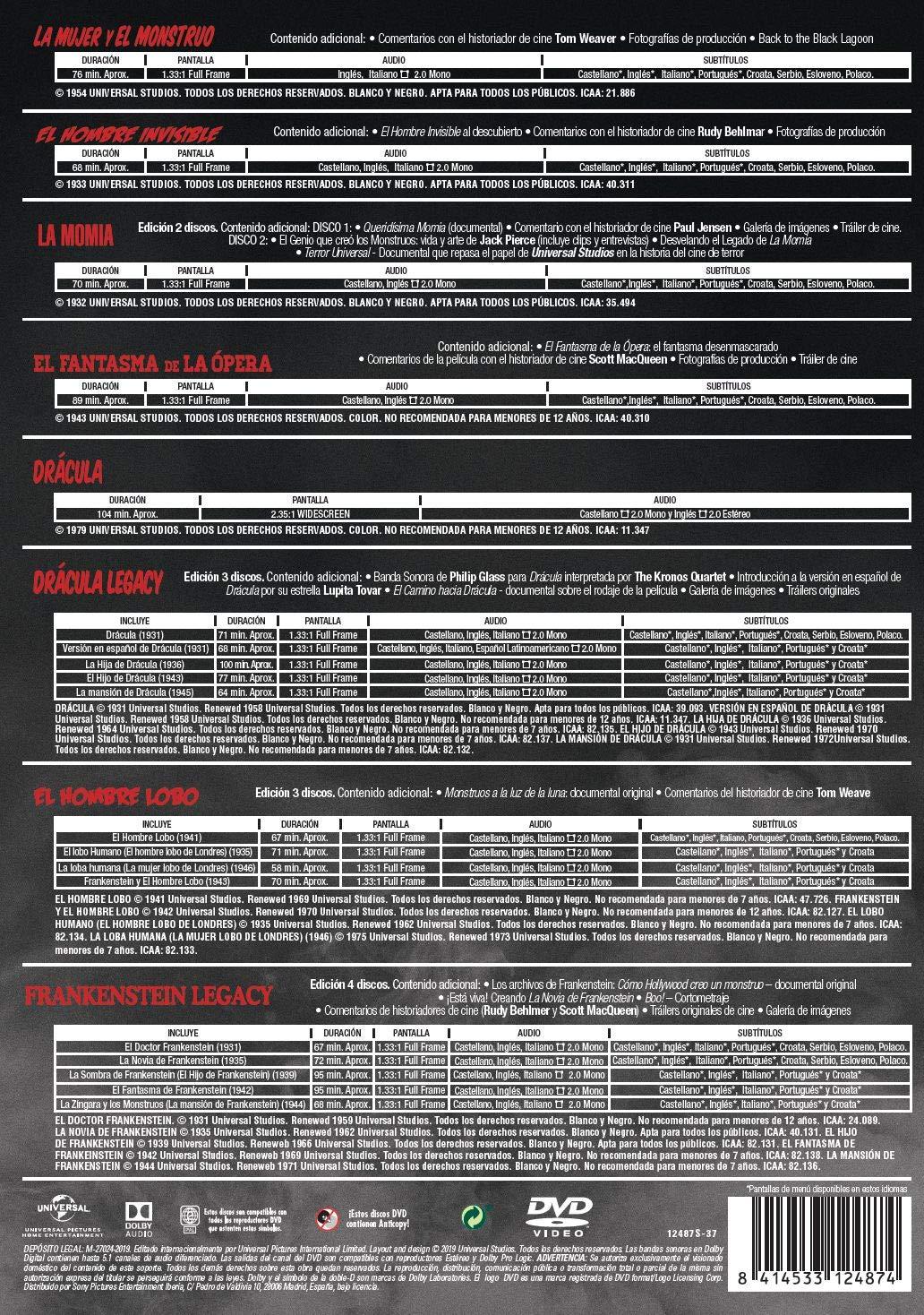 Pack Monstruos Clásicos Universal DVD 18 PELÍCULAS 16 discos ...