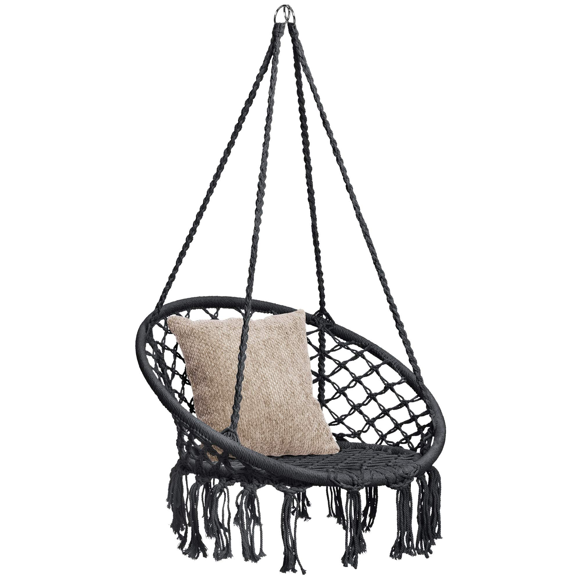Best Choice Products Indoor Outdoor Hanging Cotton Macramé Rope Hammock Lounge Swing Accent Chair with Fringe Tassels, Black