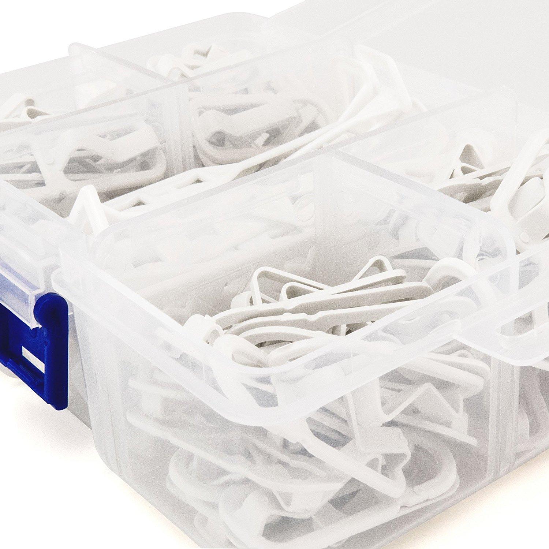 Hangerworld Caja con 104 Ganchos Conectores para Perchas 2 Tama/ños Ahorra Espacio Pl/ástico Blanco