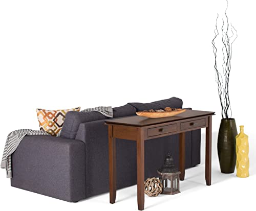 Simpli Home AXCHOL003 Artisan Solid Wood 46 inch Wide Contemporary Console Sofa Table in Medium Auburn Brown