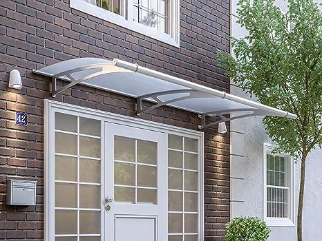 Schulte - Marquesina para puerta de casa, acero inoxidable, ampliable, placa satinada o clara, resistente a los golpes y robusta, cubierta XL: Amazon.es: Hogar