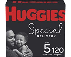 Diapers Size 5 - Huggies Special Delivery Hypoallergenic Disposable Baby Diapers, 120ct, One Month Supply