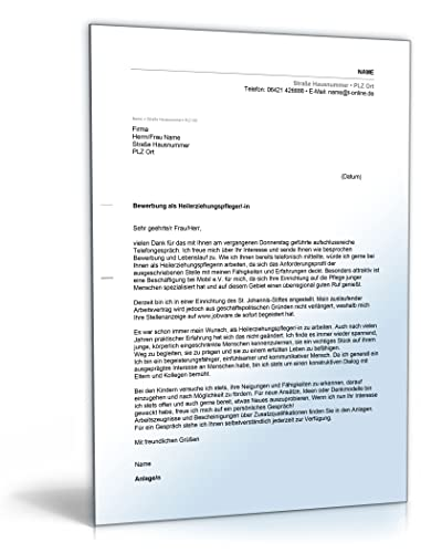 Anschreiben Bewerbung Heilerziehungspfleger Word Dokument Amazon
