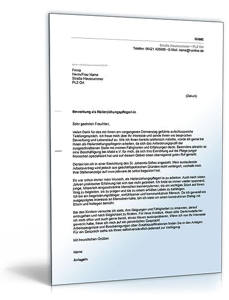 Anschreiben Bewerbung Heilerziehungspfleger [Word Dokument]: Amazon ...