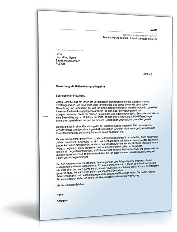 anschreiben bewerbung heilerziehungspfleger word dokument amazonde software - Bewerbung Heilerziehungspfleger