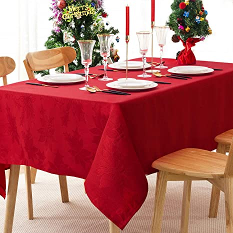 Amazon Com Rectangle Table Cloth Christmas Printed Fabric Tablecloth Washable Polyester Table Cover For Kitchen Dinning Holiday Dinner Red 52 Inch By 70 Inch Kitchen Dining