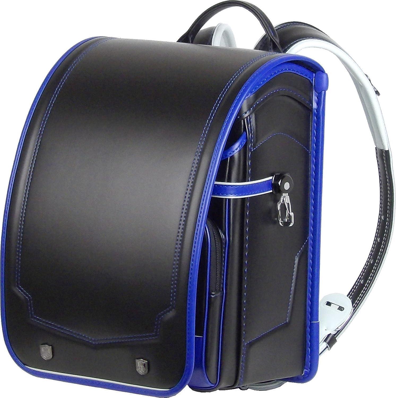 日本製 ふわりぃ コンビカラー ランドセル  黒 (ブラック) ×ロイヤルブルー(フチ) カブセ表に強力耐傷素材レミニカ使用 外せる持ち手ハンドル付 A4ポケットファイル 収納サイズ B01I90F4A8