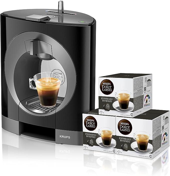 Pack Krups Dolce Gusto Oblo KP1108 - Cafetera de cápsulas, 15 bares de presión, color negro + 3 packs de café Dolce Gusto Espresso Intenso: Amazon.es: Hogar