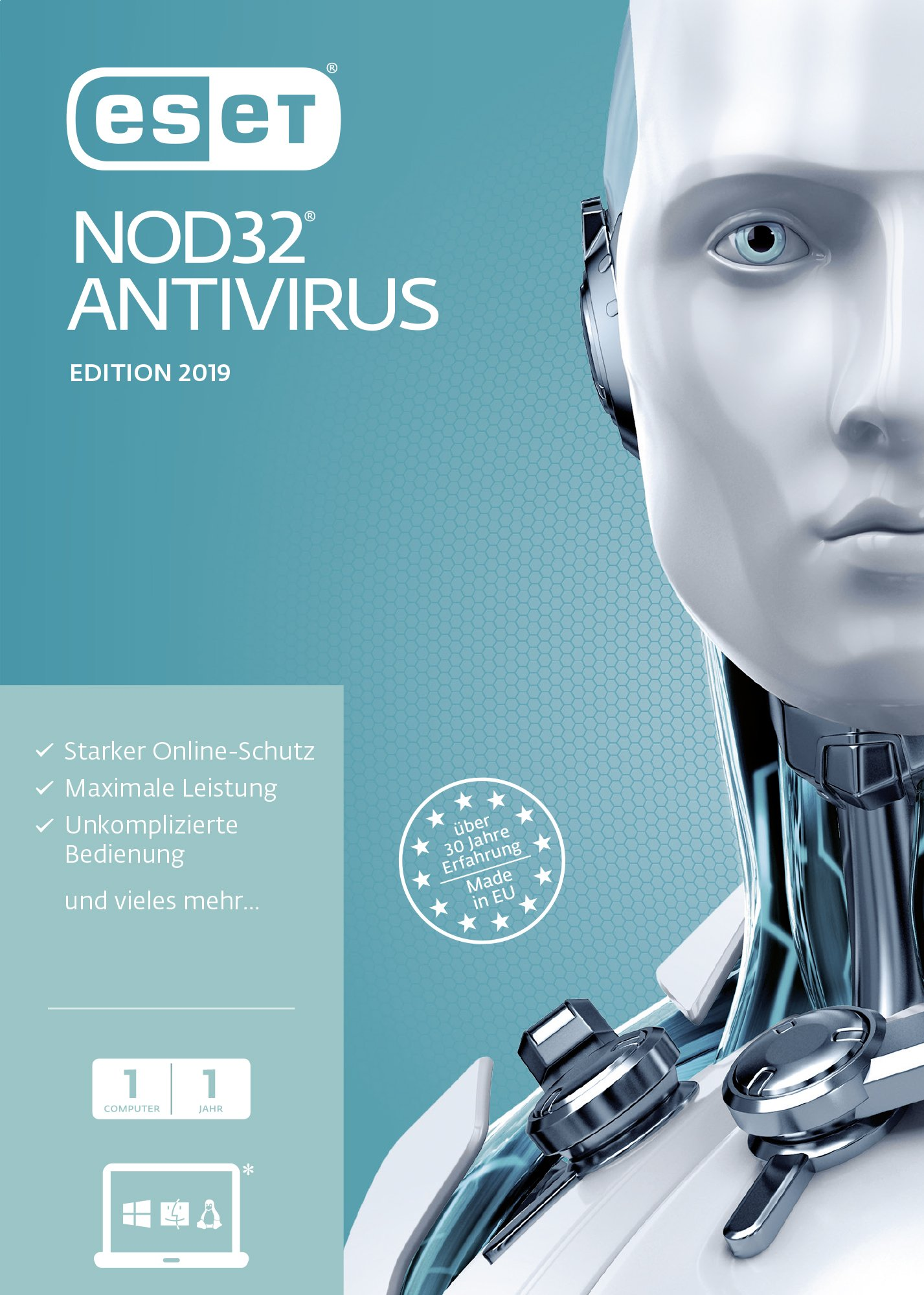 Eset Nod32 Antivirus 2019 Edition 1 User Ffp Für Windows Vista 7 8 10 Mac Linux 4022863005493 Books