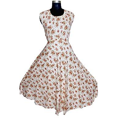 d7f30c26 Eagle Eye Outfitters Jaipuri Designer Rayon Women's Maxi Long Dress ...