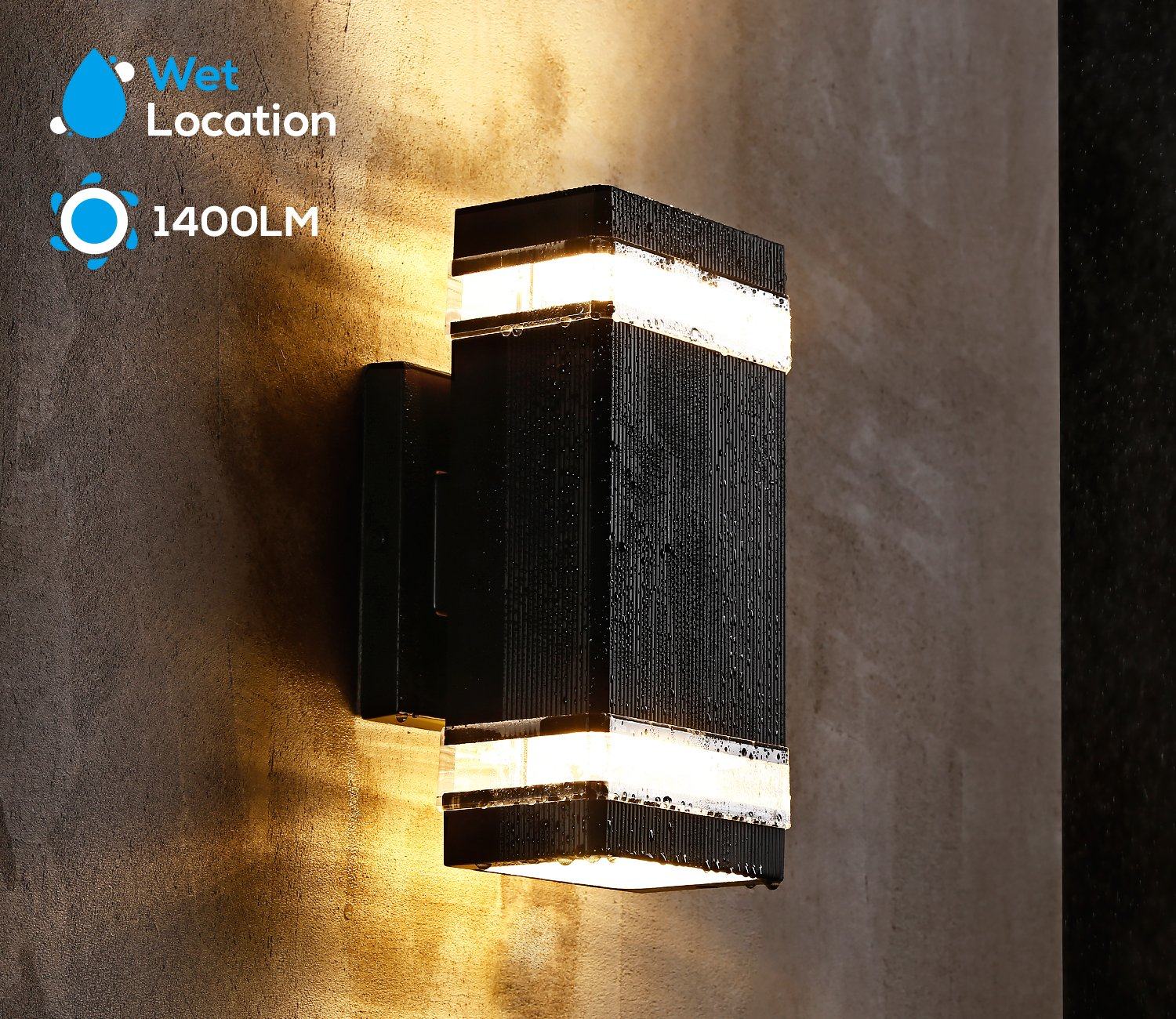 LEONLITE LED Square Up/Down Wall Light, 20W (120W Equivalent), ETL & Energy Star Certified, 3000K Warm White, 1400lm, Outdoor Waterproof LED Wall Mount Lamp, 5 Years Warranty, Pack of 2 by LEONLITE (Image #6)