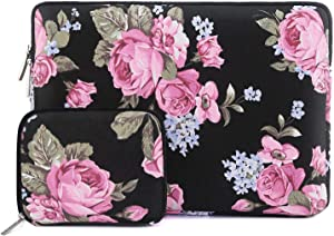 MOSISO Laptop Sleeve Bag Compatible with 12.3 inch Microsoft Surface Pro X/7/6/5/4/3, 11-11.6 inch MacBook Air, Notebook Computer, Canvas Peony Carrying Cover with Small Case, Purple