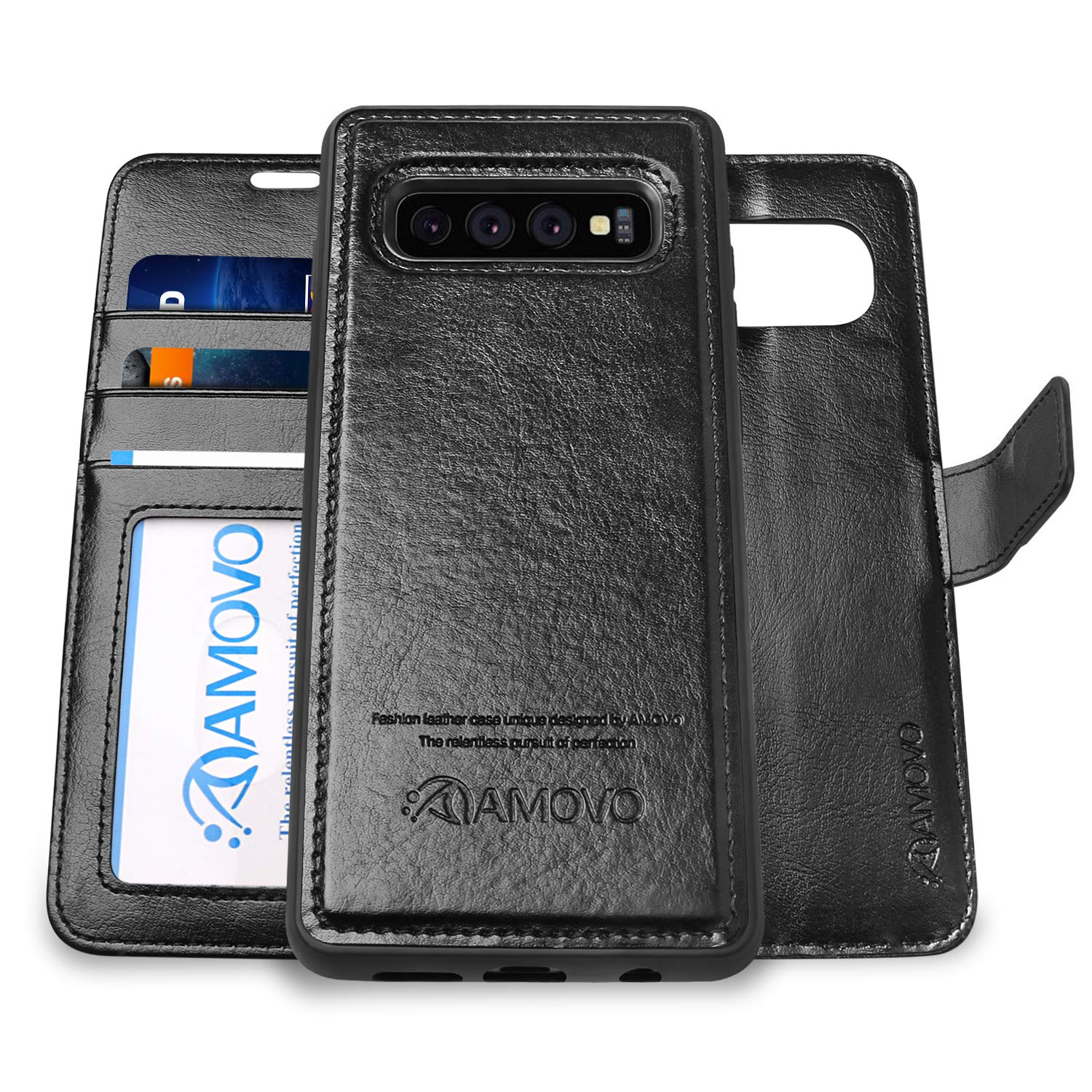 AMOVO Case for Galaxy S10 Plus/S10+ (6.4'') [2 in 1] Samsung Galaxy S10 Plus Wallet Case Detachable [Vegan Leather] [Wrist Strap] S10+ Flip Case with Gift Box Package (S10Plus (6.4'') Black) by Amovo