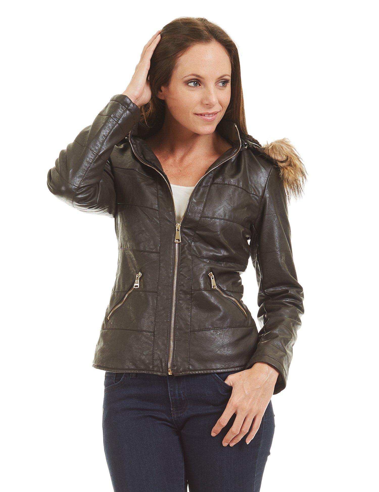WJC1422 Womens Hodded Fur-Line Faux Leather Jacket L Coffee